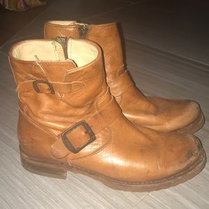 Frye Tan Leather Ankle Boots